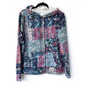 Lucky Brand Boho Patchwork ZipUp Hooded Sweatshirt